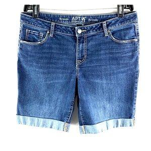 APT. 9 Essentials Dark Wash Cuffed Bermuda Shorts